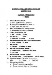 QUESTION BANK CLASS-IX (GERNRAL ENGLISH) - MP Board of ...