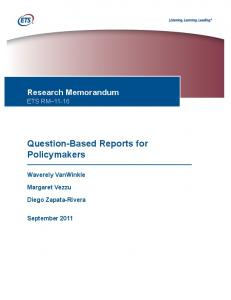 Question-Based Reports for Policymakers - ETS.org