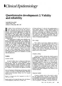 Questionnaire development: 2. Validity and reliability - NCBI