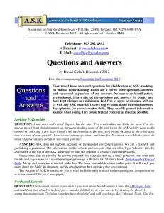 Questions and Answers - Associates for Scriptural Knowledge