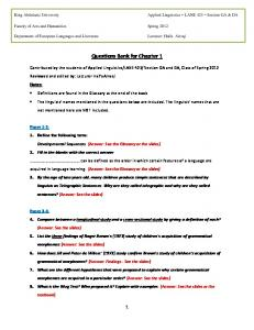 Questions Bank for Chapter 1