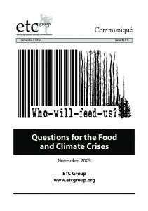 Questions for the Food and Climate Crises - ETC Group