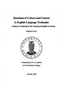 Questions of Culture and Context in English Language ... - (BORA) - UiB