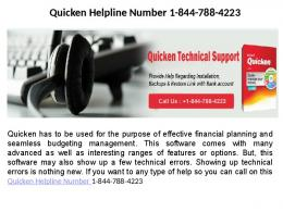 Quicken Customer Service Phone Number   1-844-788-4223