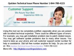 Quicken Customer Support Number 1-844-788-4223