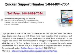 Quicken Tech Support Phone Number 1-844-894-7054