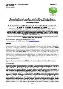 Quinoxaline Derivatives as Corrosion Inhibitors of Carbon Steel in