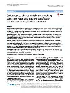 Quit tobacco clinics in Bahrain: smoking ... - Tobacco Induced Diseases
