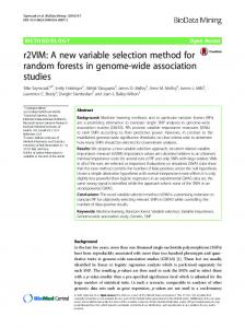 r2VIM: A new variable selection method for random forests in genome ...