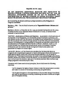 RA 9994 - The Expanded Senior Citizens Act