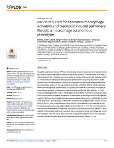 Rac2 is required for alternative macrophage activation and bleomycin ...