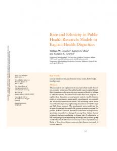 RACE AND ETHNICITY IN PUBLIC HEALTH RESEARCH: Models to