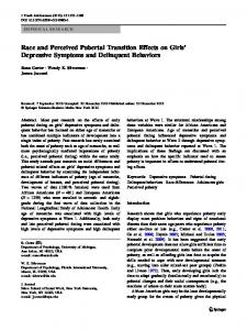 Race and Perceived Pubertal Transition Effects on Girls' Depressive ...