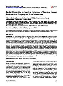 Racial Disparities in Survival Outcomes of Prostate ... - CiteSeerX