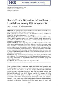 Racial/Ethnic Disparities in Health and Health ... - Wiley Online Library