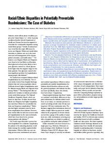 Racial/Ethnic Disparities in Potentially Preventable Readmissions ...