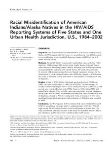 Racial Misidentification of American Indians/Alaska ... - SAGE Journals