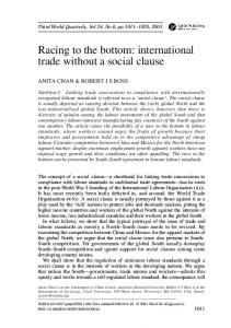 Racing to the bottom: international trade without a social ... - CiteSeerX