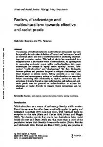 Racism, disadvantage and multiculturalism: towards effective anti ...