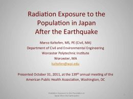 Radia2on Exposure to the Popula2on in Japan After ...
