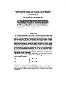 RADIATION BOUNDARY CONDITIONS FOR ...