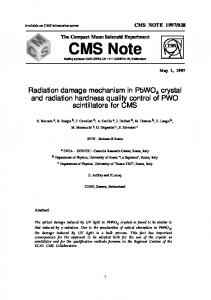 Radiation Damage Mechanism in PbWO4 Crystal and Radiation ...