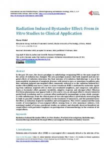 Radiation Induced Bystander Effect - Scientific Research Publishing