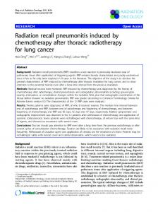 Radiation recall pneumonitis induced by chemotherapy ... - CiteSeerX