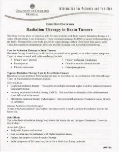 Radiation Therapy in Brain Tumors