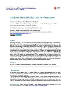 Radiator Heat Dissipation Performance - Scientific Research Publishing