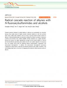 Radical cascade reaction of alkynes with N ... - Nature