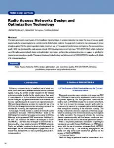 Radio Access Networks Design and Optimization ... - NEC Corporation