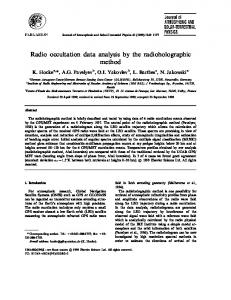 Radio occultation data analysis by the radioholographic ... - CiteSeerX