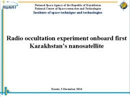 Radio occultation experiment onboard first Kazakhstan's ... - unoosa