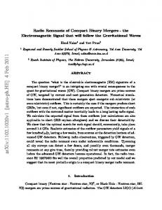 Radio Remnants of Compact Binary Mergers-the Electromagnetic ...