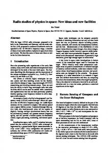 Radio studies of physics in space: New ideas and