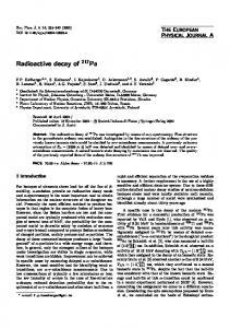 Radioactive decay of 217Pa - Springer Link
