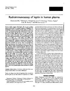 Radioimmunoassay of leptin in human plasma - Clinical Chemistry