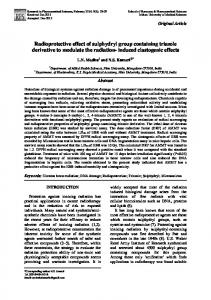 Radioprotective effect of sulphydryl group containing triazole ...