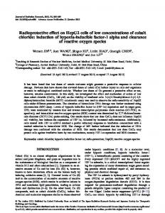 Radioprotective effect on HepG2 cells of low concentrations of cobalt ...