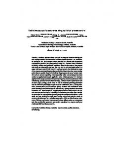 Radiotherapy quality assurance using statistical process control