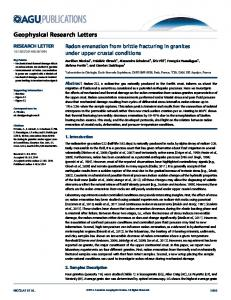Radon emanation from brittle fracturing in ... - Wiley Online Library