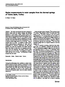 Radon measurements in water samples from the ... - Springer Link