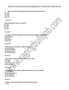 railway recruitment board (rrb) exam - question paper solved