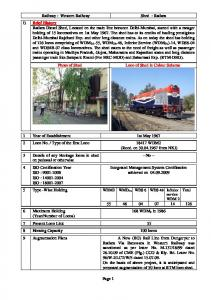 Railway : Western Railway Shed : Ratlam Brief ... - Indian Railway