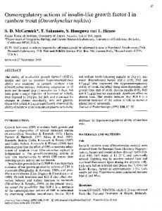 rainbow trout (Oncorhynchus mykiss) - Journal of Endocrinology
