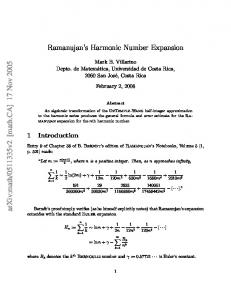 Ramanujan's Harmonic Number Expansion