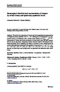 Ramanujan's identities and representation of integers ... - Springer Link