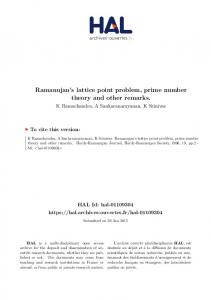 Ramanujan's lattice point problem, prime number theory and other