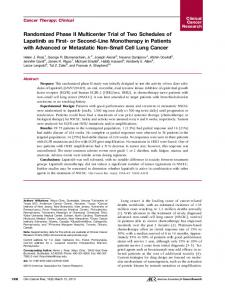 Randomized Phase II Multicenter Trial of Two Schedules of Lapatinib ...